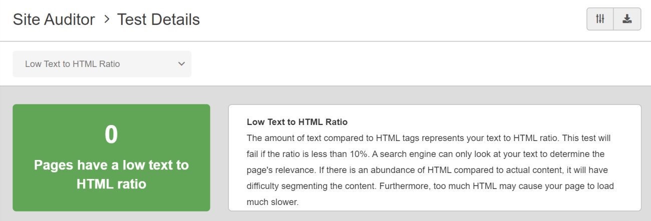 SEO Checker Low Text to HTML Ratio
