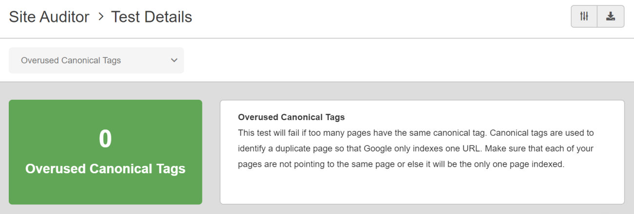 SEO Checker Overused Canonical Tags