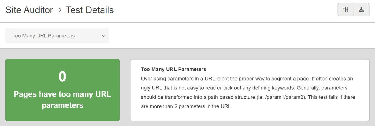 SEO Checker Too Many URL Parameters