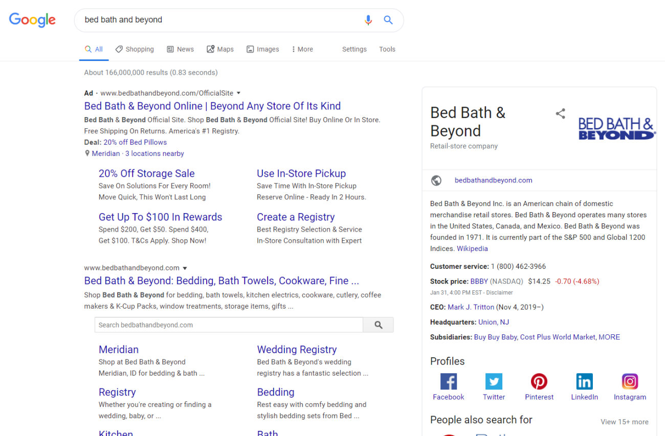 Google Ads Brand Campaign Bed Bath Beyond